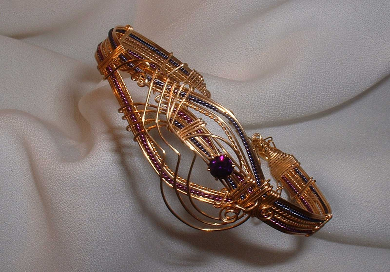Bronze Wire Wrapped Bracelet with Amethyst Crystal