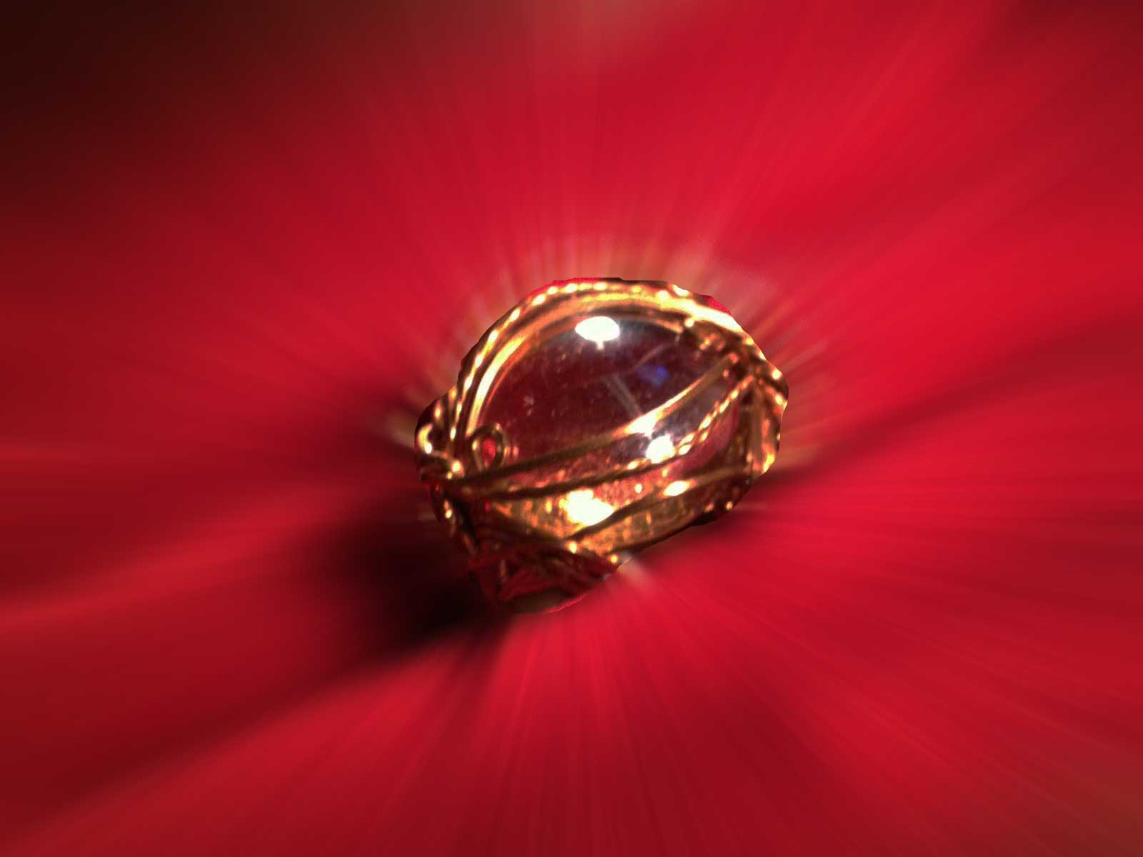 Bronze wire-sculpted ring with glass cabochon ...