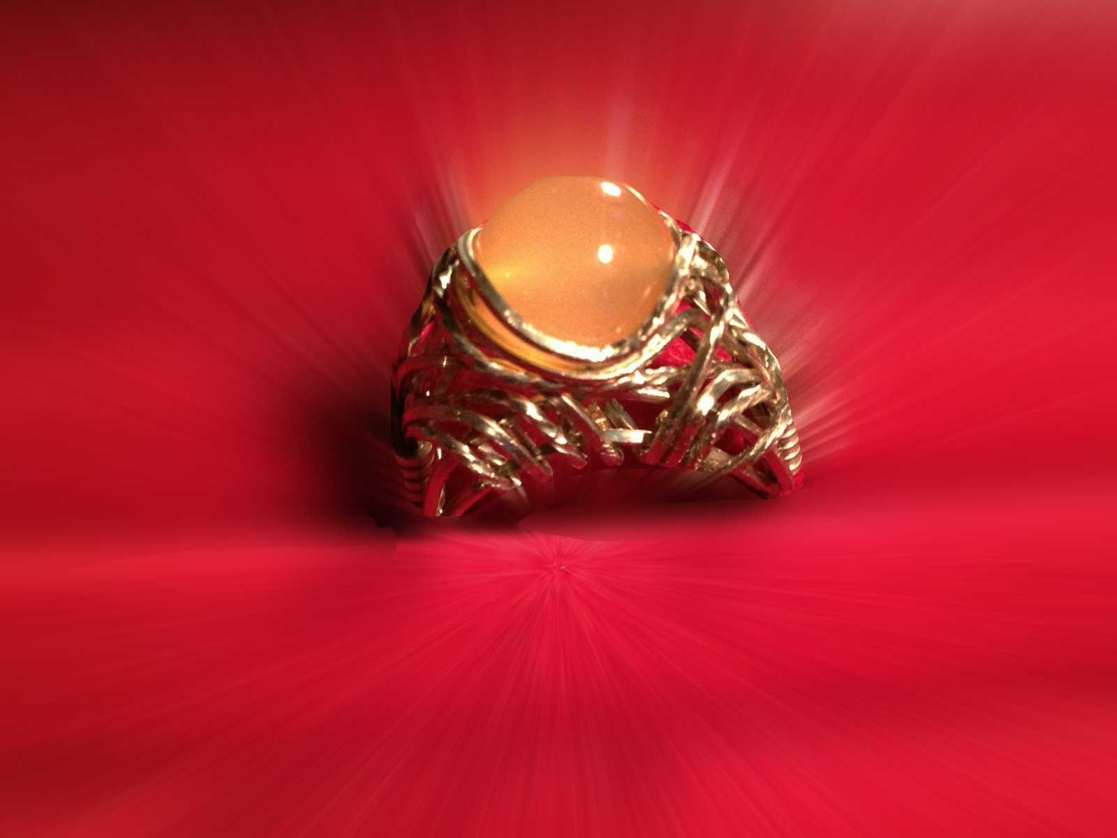 Nickel silver wire-sculpted ring with translucent  agate bead ...